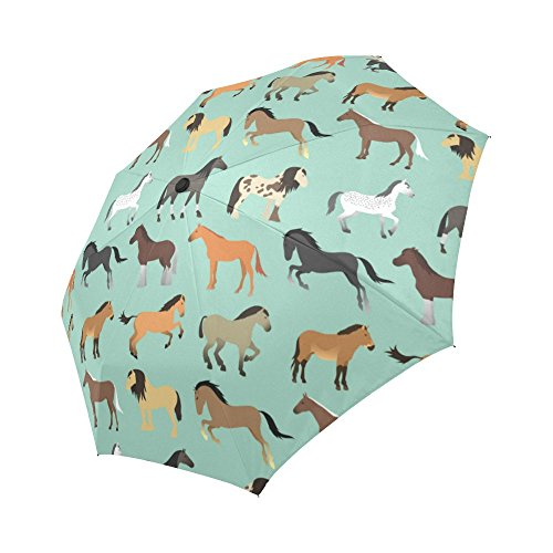 (InterestPrint Horse Seamless Pattern Windproof Automatic Open And Close Foldable Umbrella, Travel Compact Unbreakable Rain And Sun Umbrella)