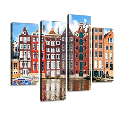 YKing1 Houses in Amsterdam Wall Art Painting Pictures Print On Canvas Stretched & Framed Artworks Modern Hanging Posters Home Decor 4PANEL