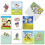 10 'Doggy Birthday' Boxed Bday Cards with Envelopes - Greeting Cards with Funny Dog and Puppy Puns, Comics - Assorted Stationery with Happy Birthday Greeting Inside 4 x 5.12 inch M3792BDG-B1x10