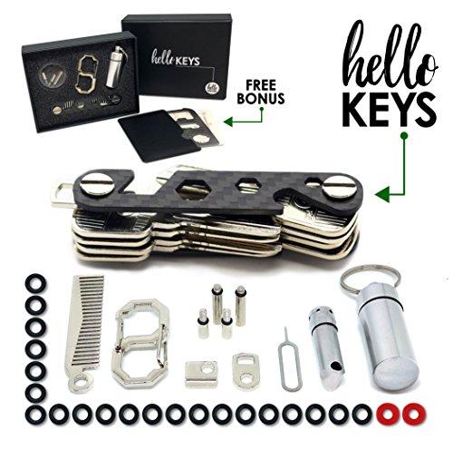 Key Organizer   Smart Key Holder   Compact Key Holder by Hello Keys  Carbon Fiber Keychain Holds up to 36 Keys   Includes LED Flashlight, Hair & Beard Comb, Cash Stash & More + FREE Survival MultiTool