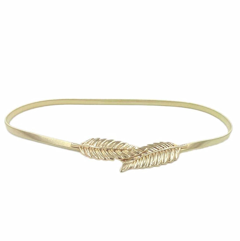 HP95(TM) Womens Metal Leaves Cummerbund Belt Elastic Casual Joker Waist Belt