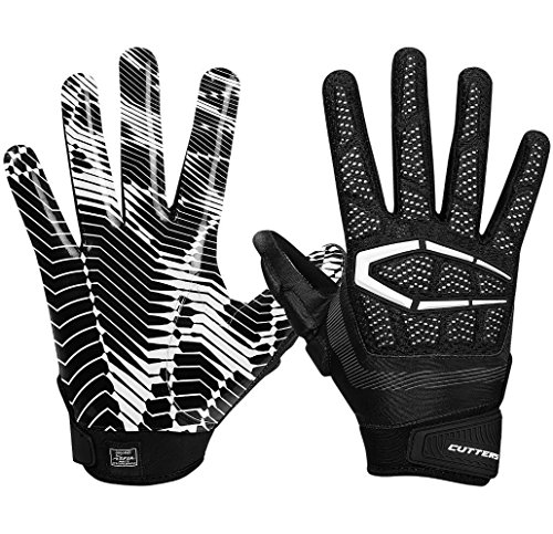 Cutters S652 Gamer Padded Adult Football Glove - Black, Large (Grip Cutter)
