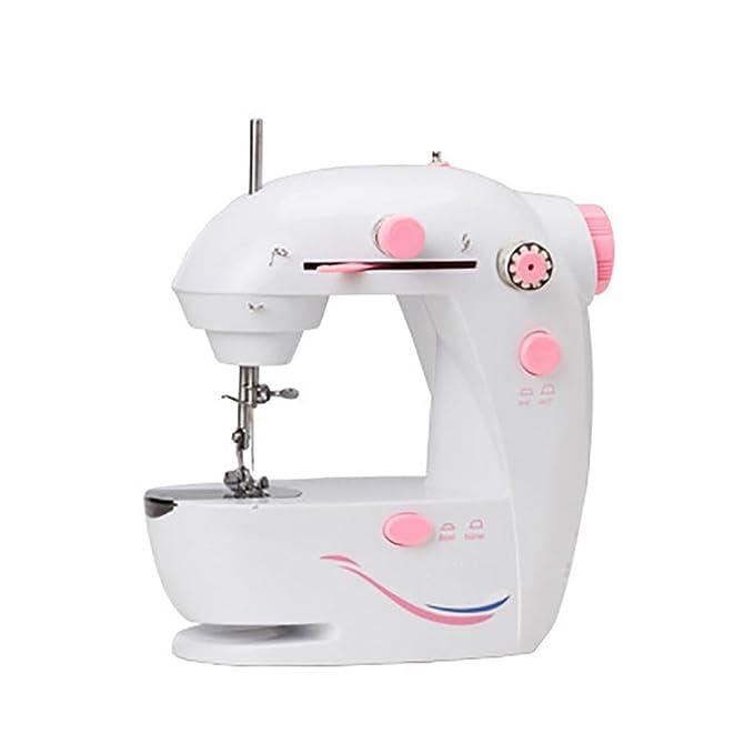 Myhope Portable mini máquina de coser doméstica eléctrica Luz LED de ajuste de la velocidad de bobinado automático Dos opciones de fuente de alimentación y ...