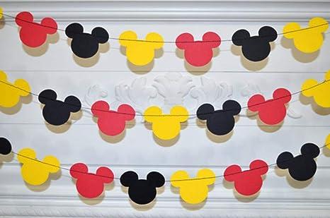 Amazon.com: Guirnalda de Mickey Mouse, guirnalda de papel ...