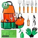 UKOKE Garden Tool Set, 12 Piece Aluminum Hand Tool Kit, Garden Canvas Apron with Storage Pocket, Outdoor Tool, Heavy…
