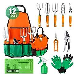 UKOKE Garden Tool Set, 12 Piece Aluminum...