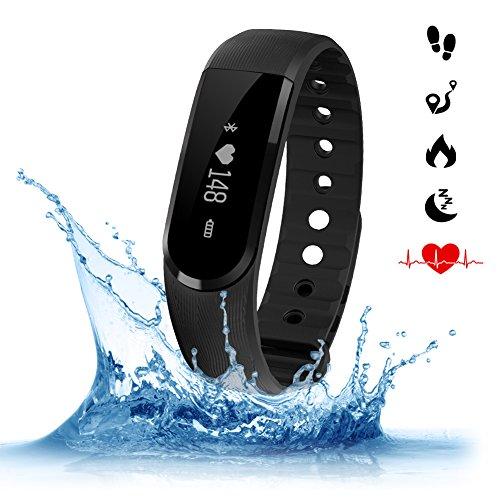 Amytech Aktivitätstracker ID 101 Fitnessarmband Tracker mit Herzfrequenzmesser & Musiksteuerung Pulsuhr Wasserdichte IP67 für Android (ab 4.4 Version) Smartphone oder IOS (ab 7.1 Version)Phone