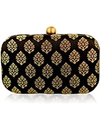 Stylish Evening Hard case silk jacquard brocade handloom ethnic party day to evening clutches for women by Monokrome New York