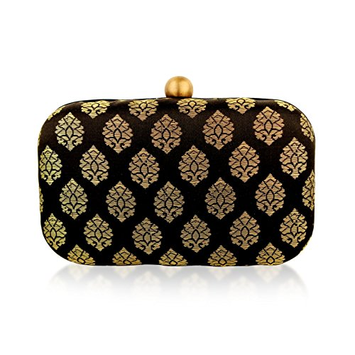 Hemlock stylish Evening Hard case brocade/silk jacquard ethnic party black and gold clutch handbag (Hard Case Satin Clutch)
