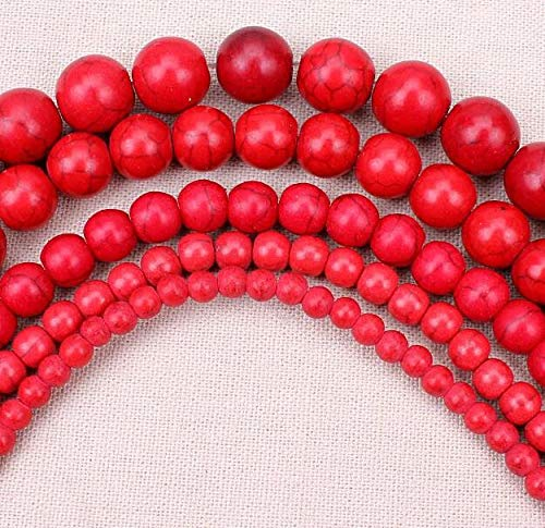 Calvas 4MM 6MM 8/10/12/14MM Bulk Natural White Synthetic Turquoises Stone Round Spacer Loose Beads for Necklace Bracelet Jewelry Making - (Color: Red, Item Diameter: 8mm 47pcs)