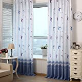 Awakingdemi Country Style Print Sheer Moon Star Shading Window Treatments Door Screen Curtain for Living Room Kids Bedroom (78'' X 40'')