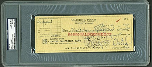 Walt Disney Signed Autographed 1963 Bank Check Spec Account PSA/DNA