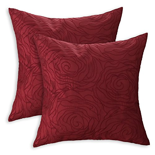 Deep Red Rose - CaliTime Pack of 2 Cushion Covers Throw Pillow Cases Shells for Sofa Couch Home Decoration Roses Floral Embroidered 18 X 18 inches Deep Red