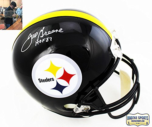 "Joe Greene Autographed/Signed Pittsburgh Steelers NFL Riddell Replica Helmet With ""HOF 87"" Inscription"