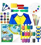 Washable Finger Paint Set, Shuttle Art 46 Pack Kids Paint Set with 14 Colours(60ml) Finger Paints...