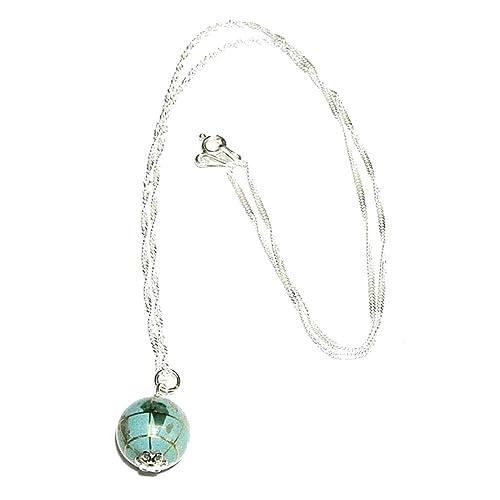perlascarel Collar Colgante Bola de Mundo 12 mm Fondo mar Azul Turquesa y Plata de Ley y Cadena Plata de Ley 45 cm. con Estuche