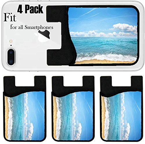 Liili Phone Card holder sleeve/wallet for iPhone Samsung Android and all smartphones with removable microfiber screen cleaner Silicone card Caddy(4 Pack) ID: 20984744 sandy beach and sea by Liili