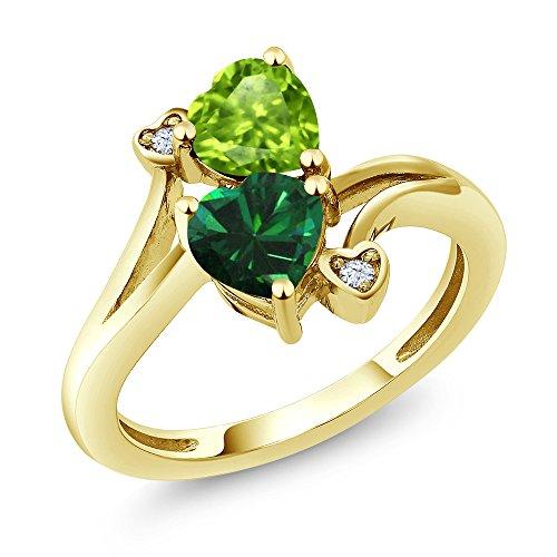 18k Peridot Ring (1.54 Ct Green Simulated Emerald Green Peridot 18K Yellow Gold Plated Silver Ring)