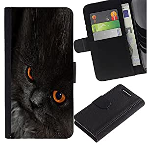 Nebelung Cat Black Eyes Chartreux - la tarjeta de Crédito Slots PU Funda de cuero Monedero caso cubierta de piel Sony Xperia Z1 Compact D5503