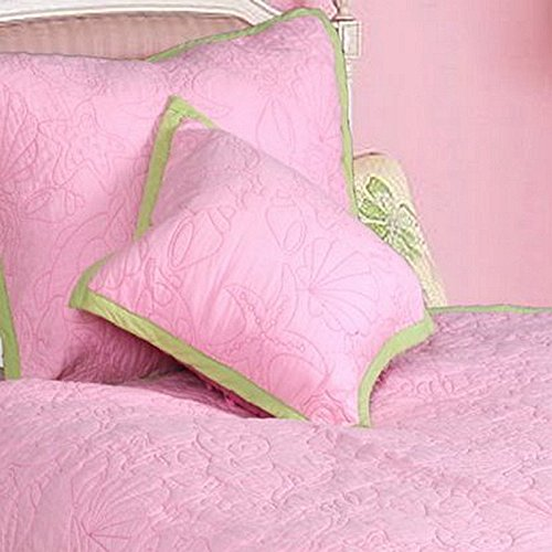 Cozy Line Home Fashions Throw Pillow 16'' x 16'', Pink Ocean Embroidered Pattern Stuffed Decorative Pillow, 100% COTTON, Gifts for Kids, Girls (Ocean, Decor Pillow -1pc)