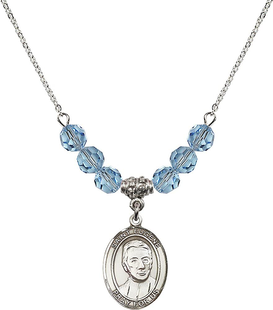 18-Inch Rhodium Plated Necklace with 6mm Aqua Birthstone Beads and Sterling Silver Saint Eugene de Mazenod Charm.