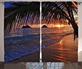 Ambesonne Hawaiian Decorations Curtains, Pacific Sunrise At Lanikai Beach Hawaii Sandy Tropics Distant Hills Leaves Landmark, Living Room Bedroom Decor, 2 Panel Set, 108 W X 84 L Inches For Sale