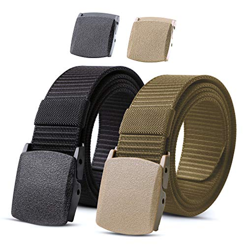 Nylon Military Tactical Men Belt 2 Pack Black + Khaki Webbing Canvas Outdoor Web Belt with Plastic Buckle,Fits Pant up to 40 Inch,2-Black&Green Khaki