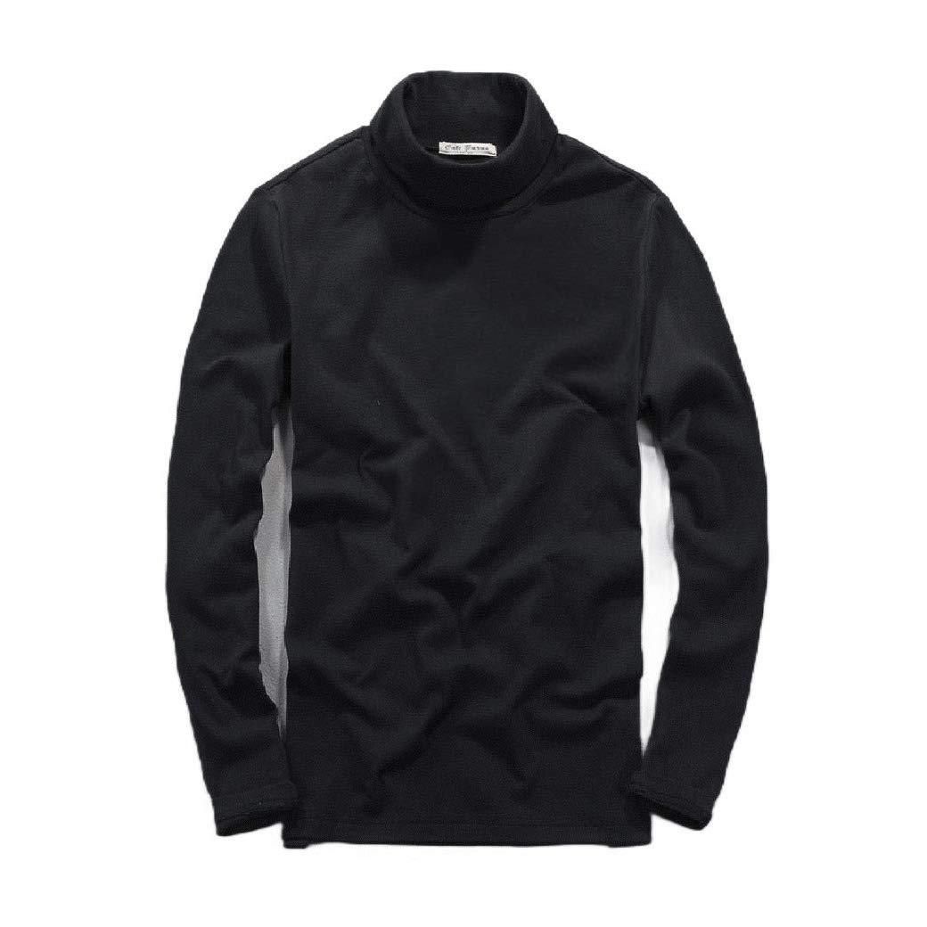 VITryst-Men Simple Long-Sleeve Fall Winter Solid Casual Leisure Tees Top