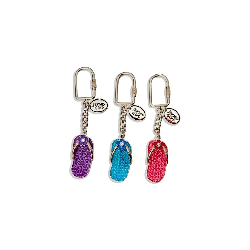 New Jersey Keychain   Jersey Girl Flip Flop Sandal   assorted colors, New Jersey Keychains, NJ Souvenirs