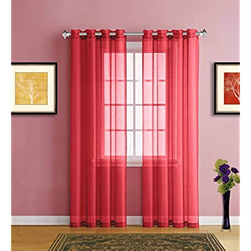 Warm Home Designs Pair Of 2 Standard Size 54 Width X 84 Length Christmas Red Sheer Window Curtains Elegant Voile Panel Drapes Are 108 Inch Wide