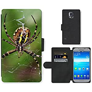 Hot Style Cell Phone Card Slot PU Leather Wallet Case // M99999217 Spider // Samsung Galaxy S5 S V SV i9600 (Not Fits S5 ACTIVE)