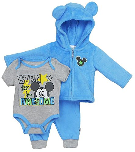 ckey Mouse 3 Piece Hoodie, Bodysuit OR T-Shirt, Pant Set, Little Boy Blue, 0- 3 Months ()
