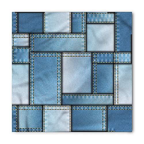 Ambesonne Unisex Bandana, Country Denim Patchwork Pattern, Blue