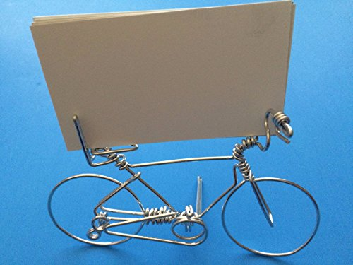 Bike Business Card Desk Display Holder ~ Hold 1 to Deck of Cards ~ Handmade Bicycle Art Decor Ornament Gifts for Cyclists ~ Crafted with ONE Wire w/NO BREAK ~ Stand Alone ~Silver Look (Bicycle Ornament Holiday)