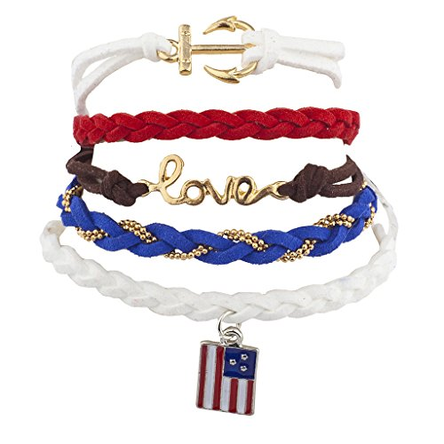 [Lux Accessories American Flag American July 4th Arm Candy Bracelet Set (5PCS)] (Arm Candy Costume)