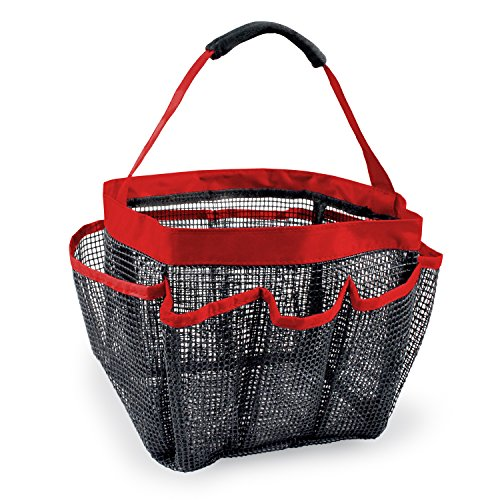 (DII CAMZ35019 7 Compartment Bathroom Shower Caddy Tote, Red)