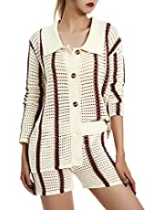 Vrouwen 2 Stuk Casual Trainingspak Outfit Sets Streep Lange Mouwen Shirts en Elastische Shorts Losse Fit Y2K Streetwear