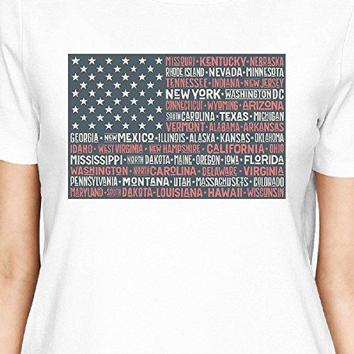 corta 50 Camiseta Flag Size States mujer de Us 365 para One manga Printing qBnIx4wg