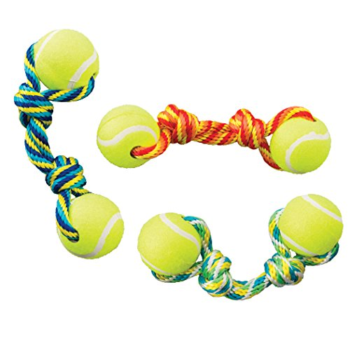 (Ethical Pets Tug Double Tennis Ball Dog Toy, 9