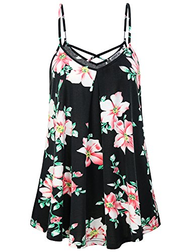 Strappy Tank Shirt Top - MOQIVGI Strappy Tank Top,Women V Neck Long Cami Spring Summer Fashion 2018 Work Cute Sexy Criss Cross Flower Hawaiian Shirt Nice Elegant Dressy Sleeveless Ladies Blouses for Office Black Large