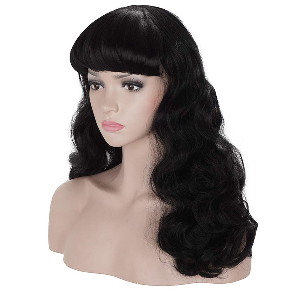 1940s Hairstyles- History of Women's Hairstyles Morvally 50s Vintage Medium Length Black Wigs with Bangs | Natural Wavy Synthetic Hair Wig for Women Cosplay Halloween $18.99 AT vintagedancer.com
