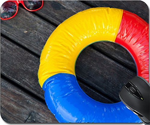 MSD Mousepad Mouse Pads/Mat design 34578896 colorful swimming ring and red sunglasses on the wooden planks of a - Sunglasses Buy Wooden