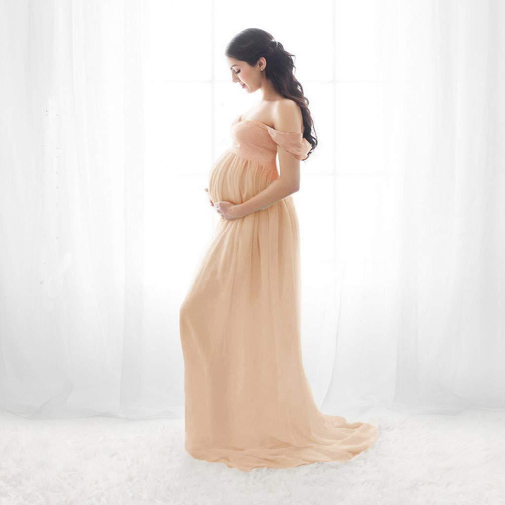 Tefamore/_mujer Embarazada Gasa Larga Vestido De Maternidad Split Vista Delantera Foto Shoot Dress Faldas Fotogr/áFicas De Maternidad
