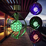 H+K+L Solar Powered Wind Chimes Light Hanging LED Lamp Colour Changing Waterproof Decorations Lights for Home Office Outdoor Garden Lawn Balcony (Silver)