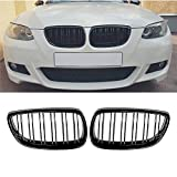 Ricoy Gloss Black Front Bumper Kidney Twin Fins Sport Grill Grille For BMW E92 E93 M3 2006-2009