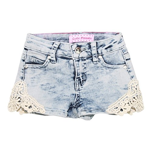 Little Girls Light Blue Washed Denim Lace Trimmed Trendy Casual Shorts 6X