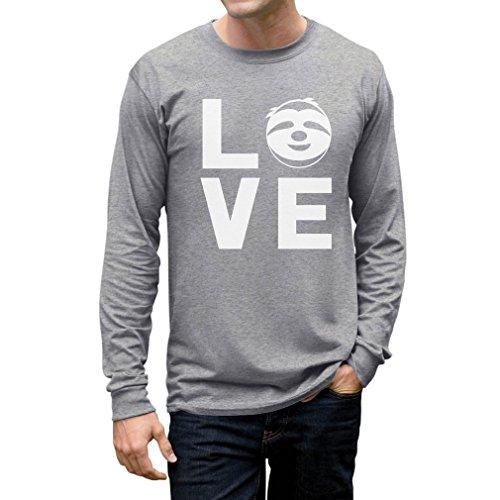 Tstars Love Sloths - Lazy Sloth Smiling Face - Animal Lovers Long Sleeve T-Shirt Large Gray