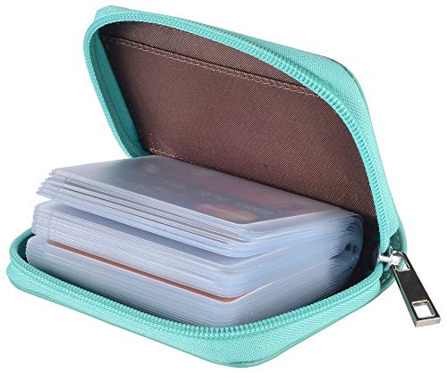 (Easyoulife Genuine Leather Credit Card Holder Zipper Wallet With 26 Card Slots (Teal))