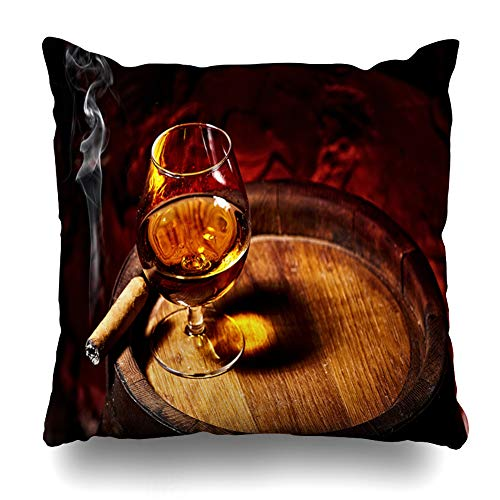 Ahawoso Throw Pillow Cover Copyspace Brown Whiskey Cognac Cigar On Old Oak Barrel Red Food Drink Ashtray Rum Alcohol Alcoholic Home Decor Pillow Case Square Size 18x18 Inches Zippered - Cigarillos Cognac