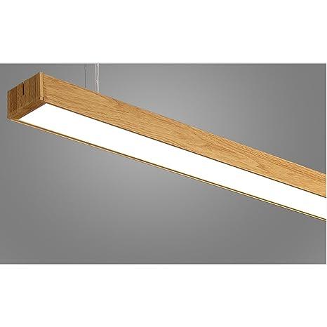 LOFAMI Lámpara colgante Patron de imitación madera Luz de techo 24W LED lámpara de araña de aluminio acrilico para oficina, fábrica, shopping ...